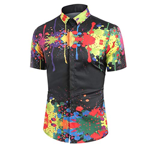 Men Casual Turndown Collar Colorful Splatter Paint Pattern Long Sleeve Shirt, MmNote