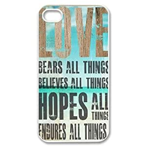 Bible Verse Back Case Cover for Iphone 4,4S,diy Bible Verse case cover