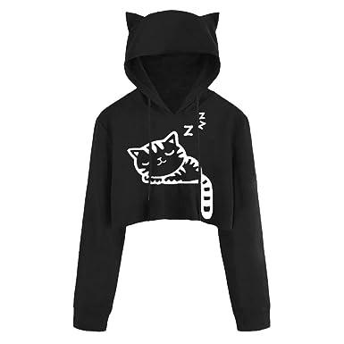 060c1d56c698 DEATU Juniors Hoodies Women Cute Casual Long Sleeve Sport Coat Teen Girls  Cat Kitty Print Short