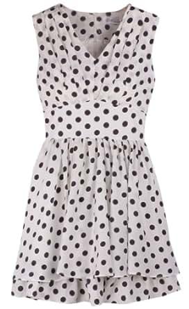 Sleeveless V-neck Polka Dots Pleated Tiny Dress White 2P