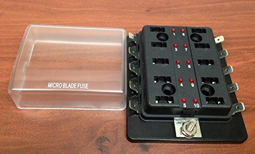 MICRO BLADE FUSE BLOCK HOLDER LED INDICATOR MARINE BOAT 10 GANG PATENT 6775148 ()