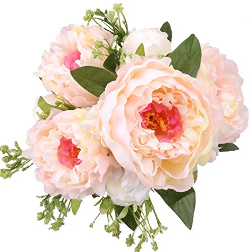 RERXN 7 Heads Artificial Peony Bouquet Silk Flowers Arrangement Fake Floral Wedding Home Decor (Champagne) (Peony Wedding Cake)
