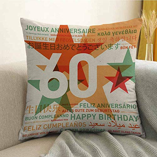 Pillowcase Hug Pillowcase Cushion Pillow Anti-Wrinkle Fading Anti-fouling World Cities Birthday Party Theme with Abstract Stars Print W24 x L24 Inch Green Vermilion and White