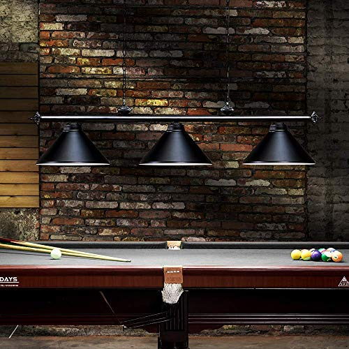 Wellmet 3 Light Pool Table Light, Vintage Retro Kitchen Island Pendant Light with Matte Black Shade, Modern Industrial Chandelier