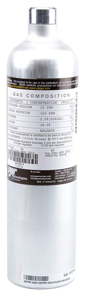 BW Technologies 113174 QUADGAS H2S Calibration Cylinder (2 Pack)