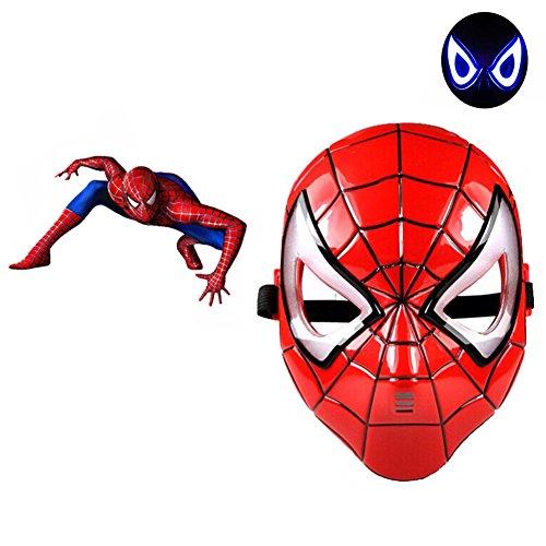 TEKIMBE LED Light Spiderman Masks Cosplay Costume Eye Mask For Halloween (Spider-man's New Costume)