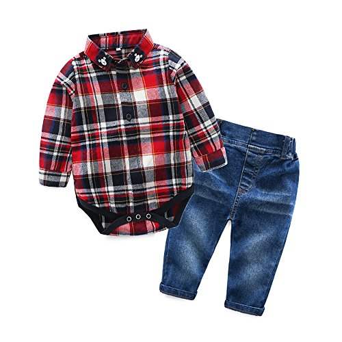 Baby Boys Casual Suit Bear Long Sleeve Plaid Button-Down Shirt Jeans Pant Outfits Set (70/0-6 Months)
