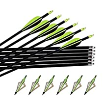 "Best-selling Black 32"" Adult Hunting/Targeting Practice Carbon Arrows with Multicolor 3 Fixed Blade Screw-in Archery Broadheads 100 Grain-6 Pcs"