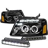 Ford F150 11th Gen Black Housing Amber Corner Dual Halo Projector LED Headlight+Smoked DRL 8 LED Fog Light