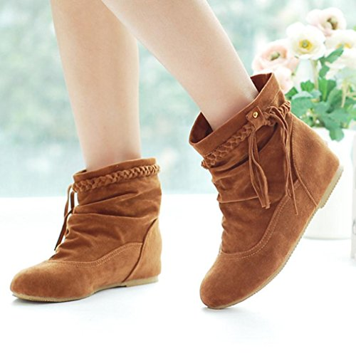 hunpta Women's Autumn Casual Boots Knot Tassel Low Heels Ankle Boots Yellow 58KsLcU
