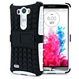 LG G3 Case, MagicMobile® Hybrid Heavy Duty Shockproof Armor Impact Dual Hard Black Plastic Layer and White Flexible TPU Skin Cover with Kickstand [Free Screen Protector Film and Stylus]