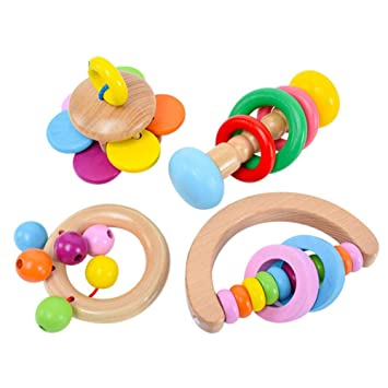 Amazon Com Toyfun Baby Rattle Set 4 Pack Colorful Wooden