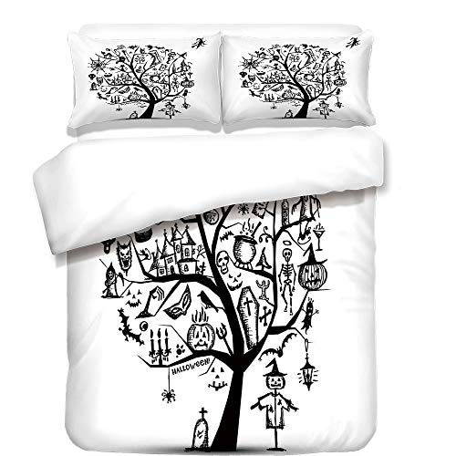 iPrint 3Pcs Duvet Cover Set,Halloween Decorations,Sketchy Spooky Tree with Spooky Decor Objects and Wicked Witch Broom,Black White,Best Bedding Gifts for Family/Friends -