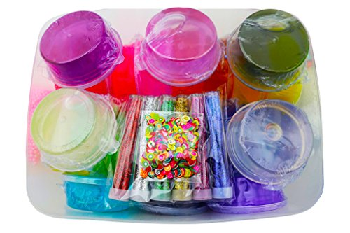 48 Piece Slime Kit for Making DIY Crystal Clear Rainbow Unicorn Slime 24 Colors Slime 6 Pack Foam Beads 5 Animal Molds Fruit Slices and Glitter Accessories for Boys and Girls for an Ultimate Slime Kit by Fun Frenzy (Image #7)