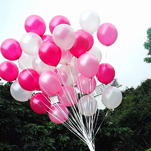 50 pcs 12inch Pink and White Balloons, Pearl Latex Balloons (Light Pink Balloons/Dark Pink Balloons/white Balloons)for Girl Birthday Party Wedding Decorations Romantic - Pink Dark Pearl