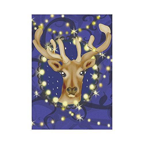 InterestPrint Christmas Reindeer Polyester Garden Flag Outdoor Banner 28 x 40 inch, Winter Deer Decorative Large House Flags for Party Yard Home Decor