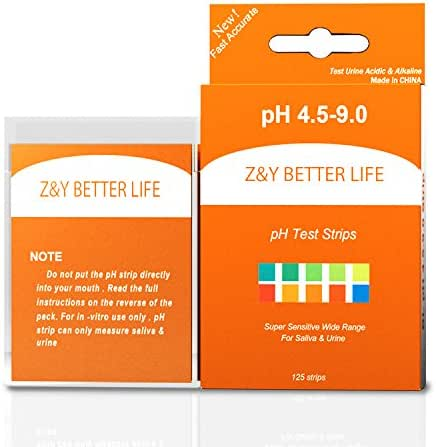 Z&Y Better Life pH Test Strips 125ct - Tests Alkaline & Acid level for Body pH Levels Using Saliva and Urine. Food and Diet pH Monitoring Urinalysis Reagent Test strips pH Measure of 4.5 - 9.0