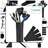"Cable Management Sleeves with Zipper, Wire Cover, 4 Pack, 20"", Neoprene Cable Organizer Wrap Flexible Cord and Wire Hider, DIY kit, Cord Sleeves for TV, Computer, Office, Cubicle, Home Entertainment"