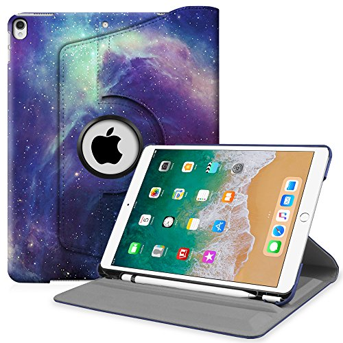 Fintie iPad Pro 10.5 Case with Built-in Apple Pencil Holder - 360 Degree Rotating Stand Protective Cover with Auto Sleep/Wake Feature for Apple iPad Pro 10.5 inch 2017, Galaxy
