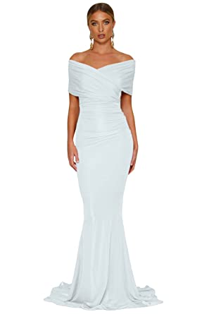 Elisan Woman Sexy Off-shoulder Mermaid Wedding Evening Party Gown Sweetheart Long Formal Dresses