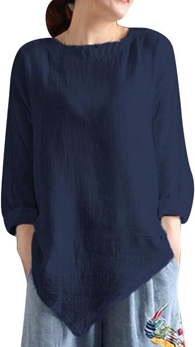 Camisa de Lino Mujer Negra, Covermason Camisa de Manga Larga de Blusa Suelta Informal de algodón de Verano de Las Mujeres de Verano: Amazon.es: Ropa y accesorios