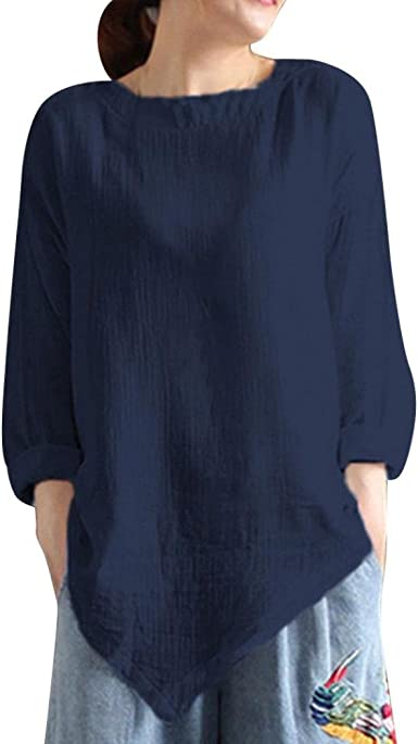 Camisa de Lino Mujer Negra, Covermason Camisa de Manga Larga de ...