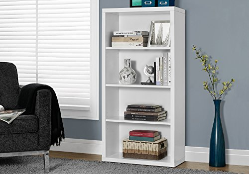 Monarch Specialties White Hollow-Core Bookcase/Adjustable Shelves, 48-Inch ()