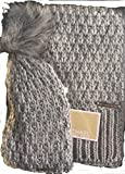 Michael Michael Kors Womens 2 Piece Knit Pom Hat and Scarf Set Fall 2017 Grey