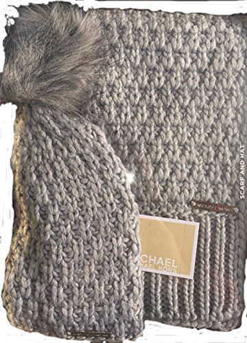 Michael Michael Kors Womens 2 Piece Knit Pom Hat and Scarf Set Fall 2017 Grey by Michael Kors