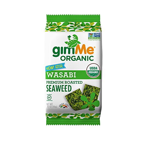 gimMe Snacks  Organic Roasted Seaweed Snacks, Wasabi, 0.35 Ounce (Pack of 12)