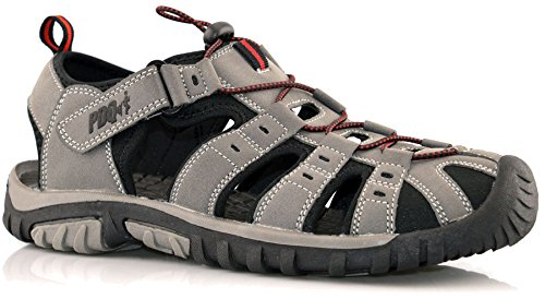 7 Toggle Sandals Velcro Shoes Mens Grey Lace Size Toe Faux Nubuck 12 Closed Cut Out qYRB7zq