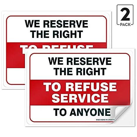 2 unidades) cartel grande de nos reservamos el derecho de ...