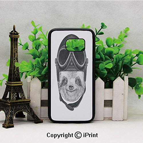 Hand Drawn Portrait of a Sloth with Vintage Helmet Airman Biker Animal in Urban Life Decorative Samsung S7 Case for Girls Women Hard Back Shock Drop Proof Impact Resist Protective Case for Samsung S7