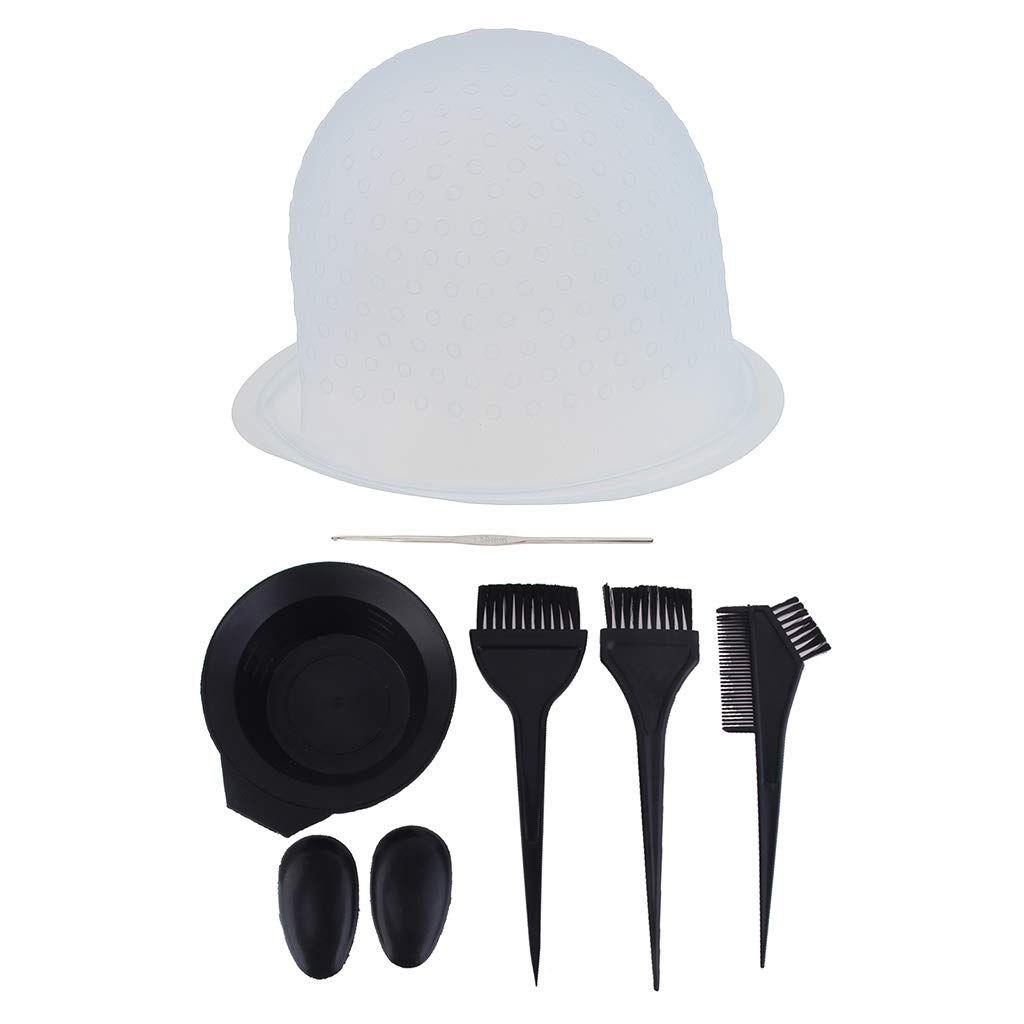 6Pcs Plastic Hair Coloring Kit Dyeing Brushes Bowl Ear Cover Comb & Silicone Reusable Tipping Cap by CUTICATE