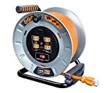 Masterplug Heavy Duty Metal Cord Reel with 4-120V 15amp Integrated Outlets and 12 Gauge High Visibility Cord (50ft)