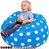 Oversized Bean Bag Chair in Ocean Blue & White Polka Dots – Machine Washable Big Soft Comfort Cover & Memory Foam Filler – Cozy Lounger & Bed – Kids & Teens Love This Huge Sack – Panda Sleep Furniture