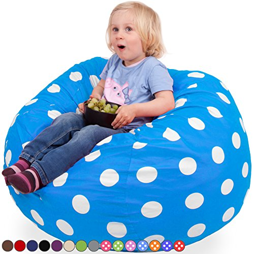 Oversized Bean Bag Chair in Ocean Blue & White Polka Dots – Machine Washable Big Soft Comfort Cover & Memory Foam Filler – Cozy Lounger & Bed – Kids & Teens Love This Huge Sack – Panda Sleep Furniture