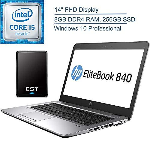 """2020 HP EliteBook 840 G3 14"""" FHD Business Laptop Computer, Intel Core i5 6300U up to 3.0GHz, 8GB DDR4 RAM, 256GB SSD, 802.11ac WiFi, Silver, Windows 10 Pro + EST 320GB External Hard Drive"""