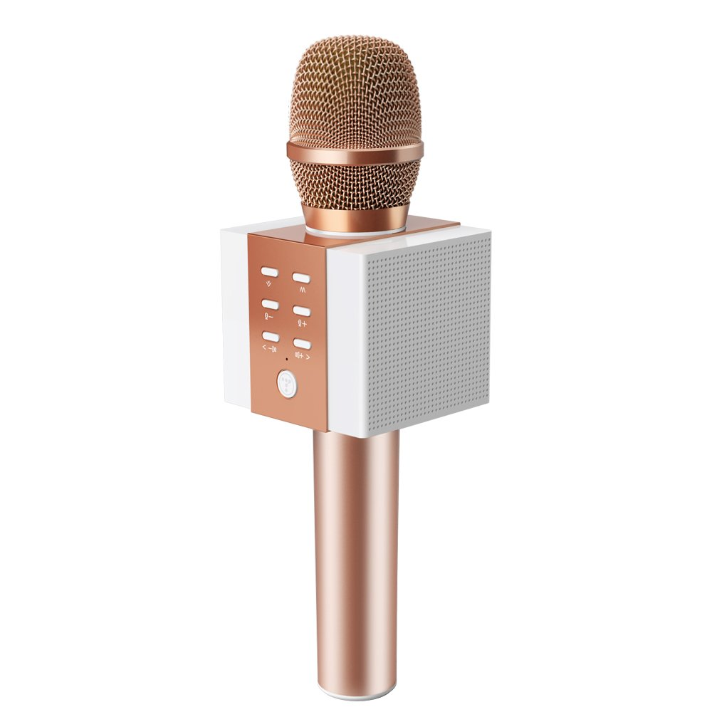 TOSING 008 Wireless Bluetooth Karaoke Microphone,Louder Volume 10W Power, More Bass, 3-in-1 Portable Handheld Double Speaker Mic Machine for iPhone/Android/iPad/PC (Rose Gold)
