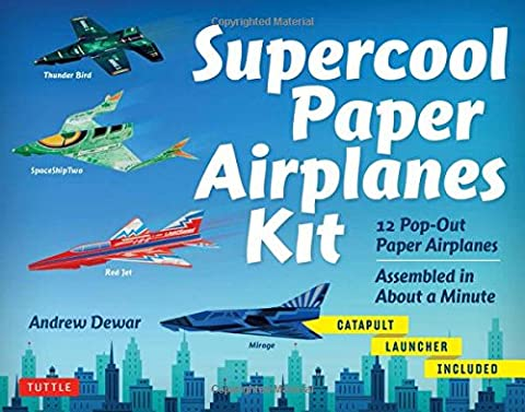 Supercool Paper Airplanes Kit: 12 Pop-Out Paper Airplanes Assembled in About a Minute: Kit Includes Instruction Book, Pre-Printed Planes & Catapult - Special Build Part