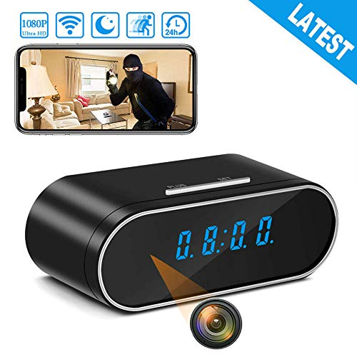 Spy Camera Wireless Hidden Camera, Latest 1080P Hidden Camera Clock Video Recorder with 157 Wide Angle, WiFi Nanny Cam with Night Vision, IP Security Camera Espia for Home Security Monitoring