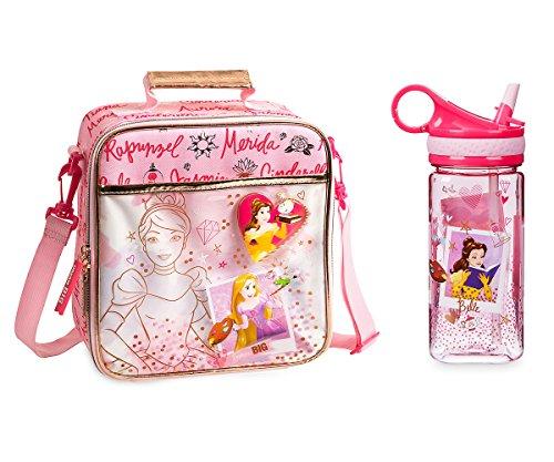 Disney Store Princesses Belle Rapunzel Cinderella Lunch Bag and Water Bottle (Male Disney Character Names)