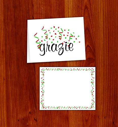 GRAZIE CARDS with envelopes (20 count) (Italian Thank You Cards)