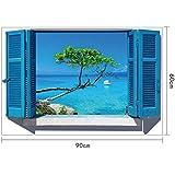 Skyllc® Bellissimi adesivi murali soggiorno ingresso arredi mediterranei letto bollino blu finestra forma