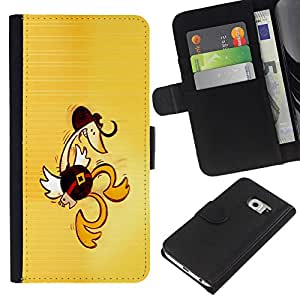 Samsung Galaxy S6 EDGE (NOT S6) - Dibujo PU billetera de cuero Funda Case Caso de la piel de la bolsa protectora Para (Western Dancing Duck - Funny)