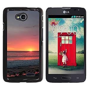 Be Good Phone Accessory // Dura Cáscara cubierta Protectora Caso Carcasa Funda de Protección para LG Optimus L70 / LS620 / D325 / MS323 // Sky Summer Sun Orange Clouds Sea