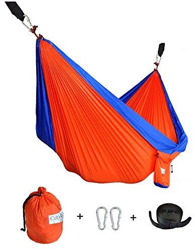 CUTEQUEEN TRADING Single Nest Parachute Nylon Fabric Hammock With Tree straps;Color: Orange/blue