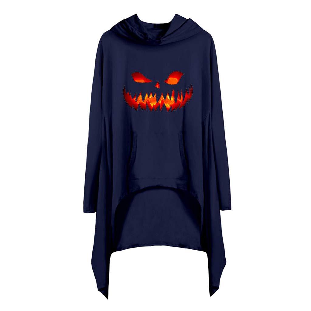 Alangbudu Women Halloween Hoodies Long Sleeve V Neck Irregular Curved Hem Sweatshirt Baggy Top Pullover Blouse w Pocket Navy by Alangbudu-Women's Long sleeve blouses & sweatshirts & hoodies