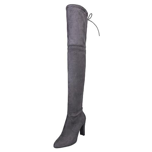 Zapatos de mujer Botines Zapatos de mujer tacones altos Botas de mujer sobre la rodilla Señoras