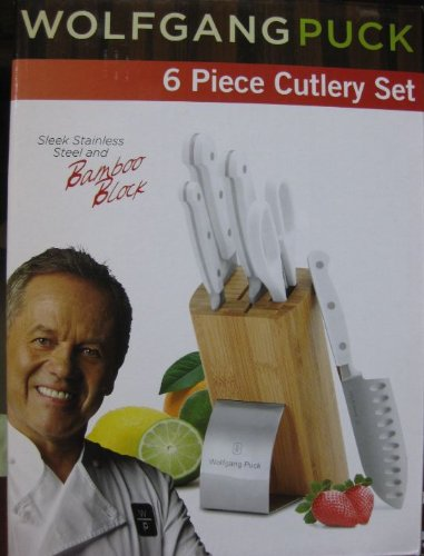 Wolfgang Puck Cutlery Set - 6 Pcs Stainless Steel with White Handles and Bamboo Block
